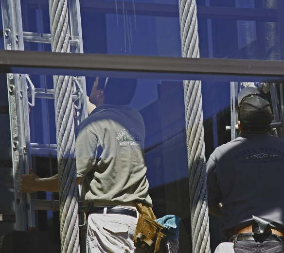 Window Cleaners Working On The Squaw Valley Tramway