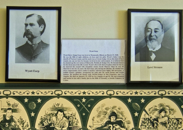Wyatt Earp and Levi Straus Hang Together on the Wall of the Colma Historical Society.