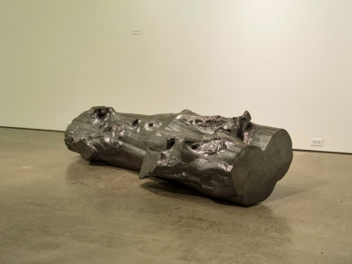 "Broken Tag a Log, Graphite on Redwood, 36"" x 96"" x 24""; Chris Sicat, 2010"