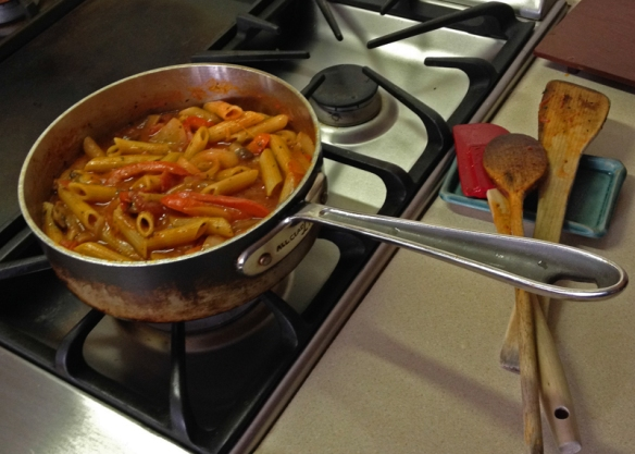 Dinner: Penne Rigate cooking