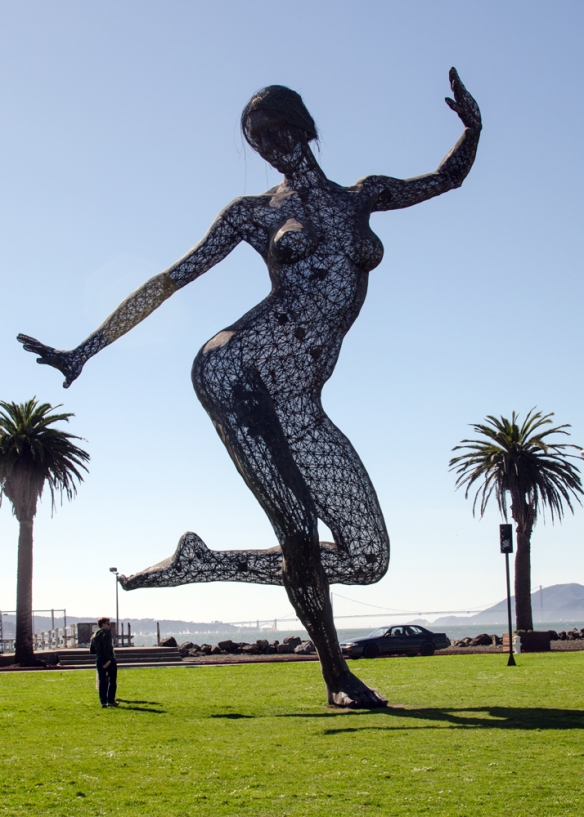 Bliss Dance,wire frame sculpture, Treasure Island, CA