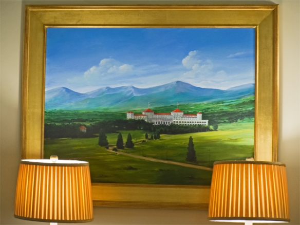 Mt Washington, Mountain and Hotel, with Lamps in a Reading Foyer of the Hotel.