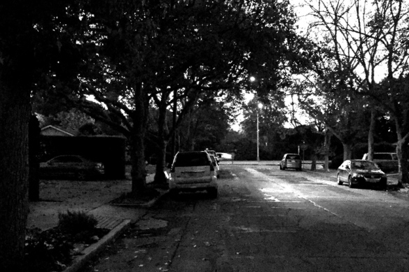 Quiet Street at 6:30. iPhone6 and Photoshop B&W