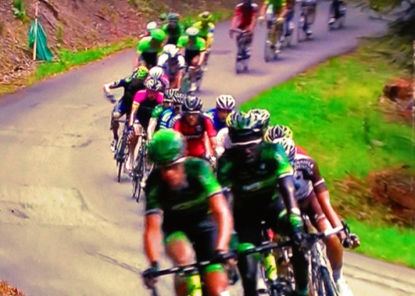 Lead Group Races Down Hill, Tour de France