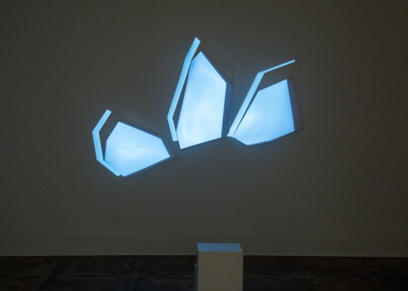 Simona Fitcal, Seduction of Matter, 2014, Video projection on custom screens.