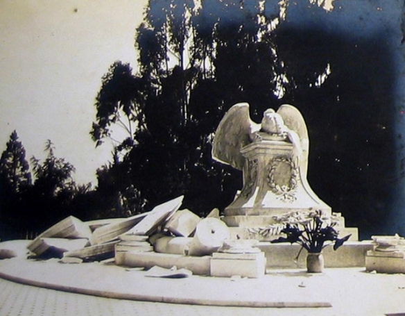 Angel in Rubble of 1906 Earthquake, Stanford Historical Society