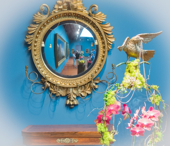 Gallery 22: Girandole Mirror (1810) with floral arrangement by Sunshine Flowers and Constance Shrecengost