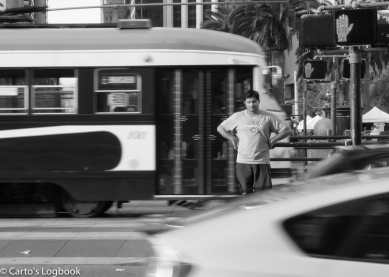 Waiting for the green, A Cub's fan trapped mid-crossing, SF, 2016