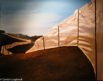 """Over The Hill"", Susi Thomas, 2007, Acrylic on Canvas with Running Fence fabric, Photo by Carto, 2011"