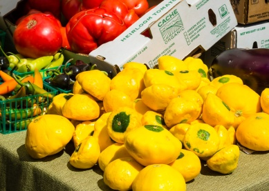 Pattypan squash, eggplant, peppers and tomato. Palo Alto Sunday Farmer's Market, 2017