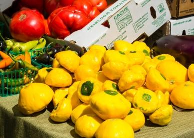 Pattypan squash, eggplant, peppers and tomato. Palo Alto Sunday Farmer's Market, 2017