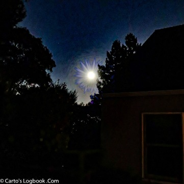 Start of HALLOWEEN tour: Moon from the back door -- Photoshopped!